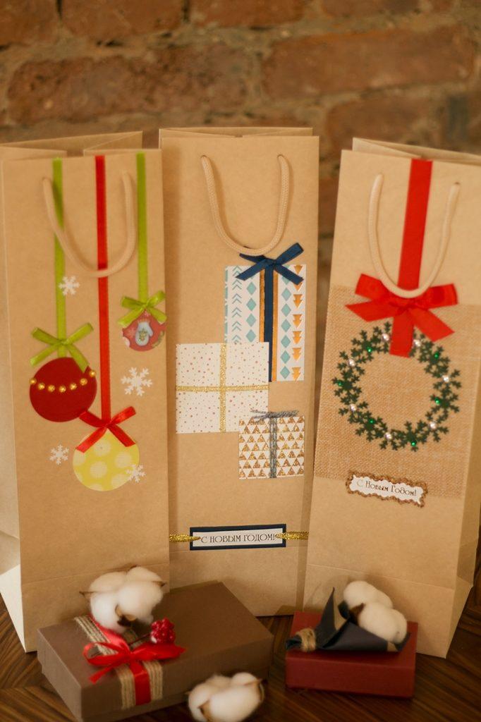 новогодние пакеты под бутылку